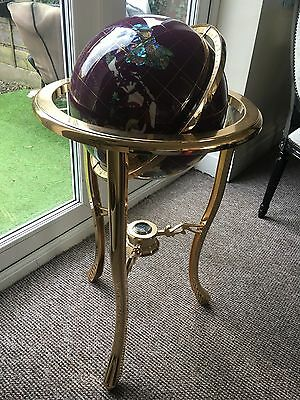 Gemstone Globe. Black Agate And Mother Of Pearl On Chrome Floor Stand