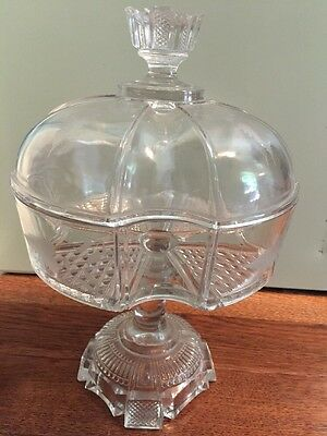 Antique 1800's Etched Glass Compote Dish With Lid