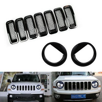 Front Grille Mesh Insert Cover Trim+Angry Bird Headlight Cover for Jeep Patriot