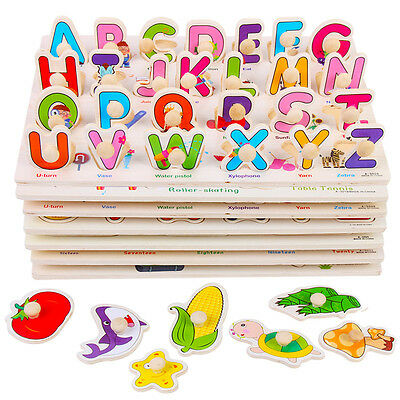 3x Kid Preschool Learning Wooden Board Puzzle Number Alphabet Fruits Shapes