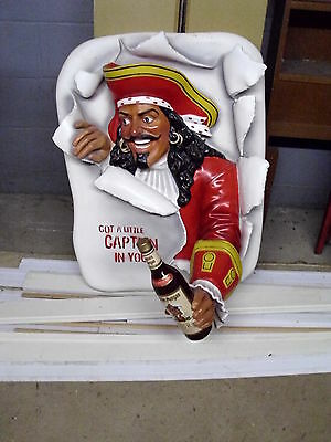 Rare Captain Morgan Rum Large Pirate Store Display 3D Sign Heavy Color Wall Bust