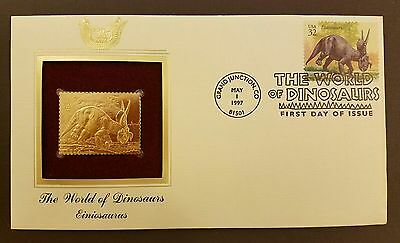 The World of Dinosaurs Einiosaurus Gold Replica Stamp Cover May 1, 1997