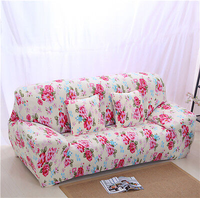 Red Flower LAUBT Stretch Fitted Sofa Cover Pet Protector seater Slipcover LAU