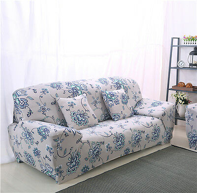 Blue Flower LAUBT Stretch Fitted Sofa Cover Pet Protector Seater Couch CaseLAU