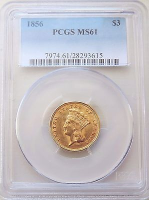 1856 Indian Princess $3   Pcgs Ms61