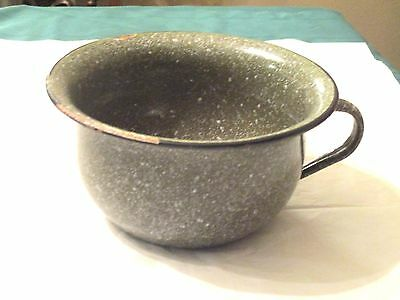 Olive Green Speckled Enamelware Childs Handled Chamber Pot