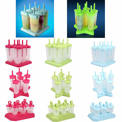 4/6 Cups Plastic Ice Cream Pop Frozen Molds DIY Popsicle Maker Lolly Mould Tray