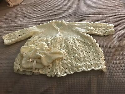 Beautifully Hand knitted Lemon Baby Jacket and Booties