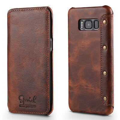 For Samsung Galaxy S8 S9 S10+ Retro Genuine Leather Slim Cover Flip Wallet Case