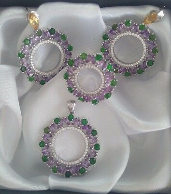 Natural Uruguay Purple Amethyst & Diopside On 925 Sterling Silver Set / Jewelry