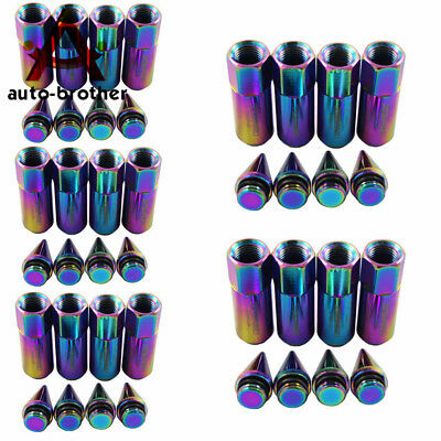 Neo Chrome SPIKED Extended Tuner 60mm Lug Nuts Wheels Rims M12X1.5 20PCS