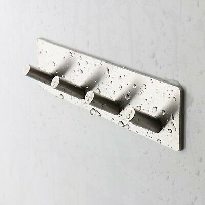 Stainless Steel Bathroom Kitchen Adhesive Towel Key Hook RackStick Hanger Holder