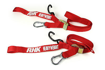 Rhk Heavyweight Motorcycle Tie Downs - Red. Military Grade!