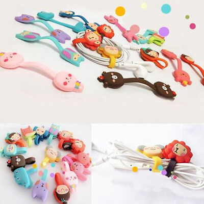 2x Cute Cartoon Earphone Winder Cable Cords Organizer Holder Phone Cable Holder