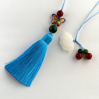 Jade, Agate and Cloisonné bookmark with tassel #B0002