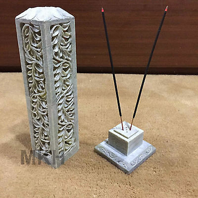 Natural Stone Incense Stick Holder Candle Stand Pietra Dura Marquetry (459)