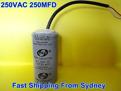 CD60 250VAC 250MFD (250uF) Air Conditioner Appliance Motor Capacitor With Wire
