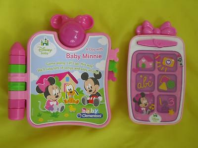 DISNEY BABY MINNIE MOUSE - ELECTRONIC BOOK & PHONE - Toy bundle - Excellent cond