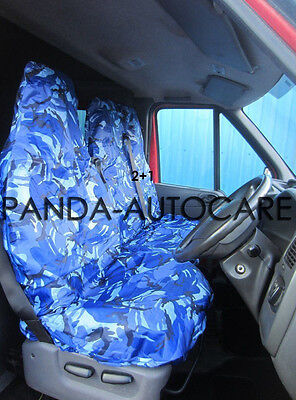 Renault Master Van 2010 On Seat Covers Camouflage Dpm Camo Blue Heavy Duty 2-1