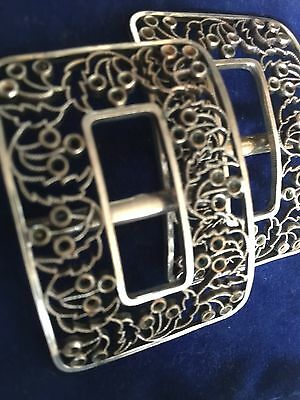 Pair Of Silver Antique Decorative Buckles