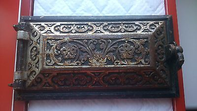 Vtg Antique European Russian Belorussian Ornated Cast Iron Fireplace Stove Door