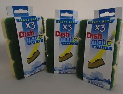 9X Heavy Duty Green Dishmatic Dishmatique Sponge Scourer Replacement Refill Head