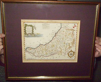 Antique Framed & Mounted Collectable Kitchin Map of Cardiganshire c1775 *VGC*