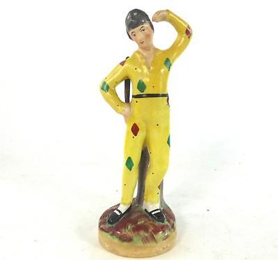 Antique Kent Staffordshire Pottery Figure Of A Harlequin Theatre