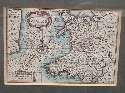 Old Antique Map 1627-76  By Pieter Van den Keere Original Engraved Map Wales