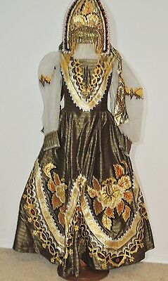 Vintage Ethnic Gold Lame Appliqued Dress / Blouse Head Dress SM