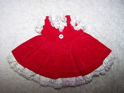 Vintage Vogue Ginnette Doll Red Velvet Dress w/ White Lace Tagged Adorable