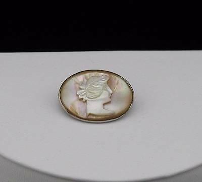 Art Nouveau Hand Carved Mother of Pearl Shell Lady Portrait Cameo Pin Brooch