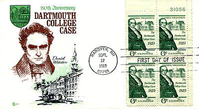 PREMIUM CACHETED 1969 Dartmouth College Case, Daniel Webster plate block FDC
