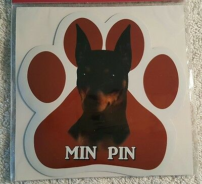 Minature Pinscher Min Pin Dog Breed Paw Print Magnet