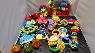 Lot of 12 Baby Rattles and Toys,