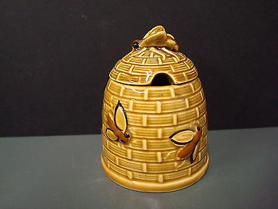 Vintage Ceramic Bee Hive Honey Pot with brown bees
