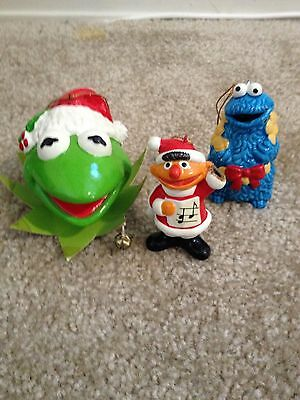 vintage Kermit with bells, Cookie Monster, Ernie Christmas ornaments, Korea