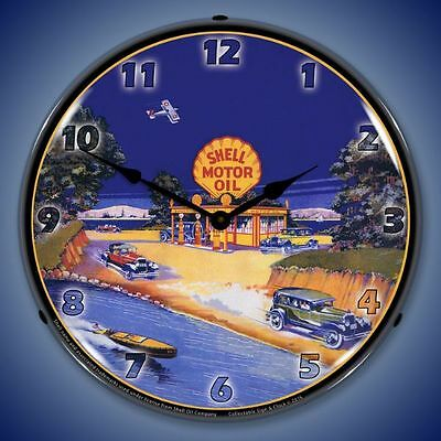 Shell Gas Station 1929 Lighted Wall Clock