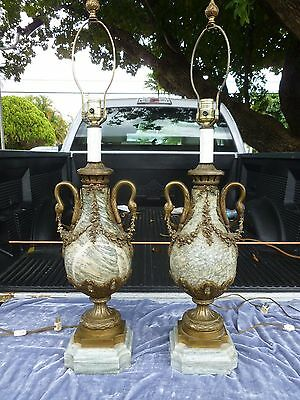 Semi Antique Pair Of Massive Continental Marble And Bronze Swan Head Lamps