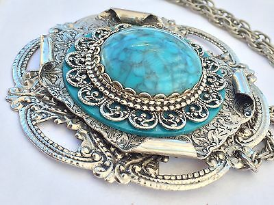 """Vtg 1970's Lg 3"""" SilverTone Southwestern Style Embossed Pendent Chain Necklace"""