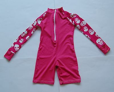 Sun protection zone one-piece long sleeve sun swim suit pink kids sz 4