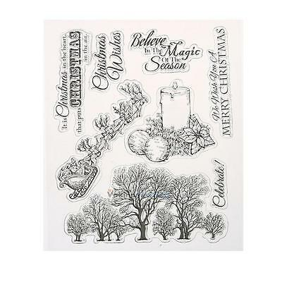 Tree Plant Transparent  DIY Silicone Rubber Clear Stamp Cling Seal Scrapbooking