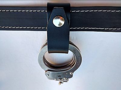 Plain Leather Handcuff Holder, Fits 1-1/2'' Belt, For Loss Prevention & Private