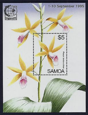 Samoa 1995 Singapore Stamp Exhibition orchids MS MNH