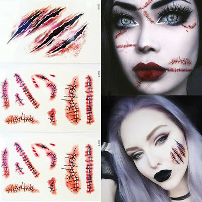 Halloween Face Body Fake Temporary Tattoos Scars Kids Adults and Zombies UK