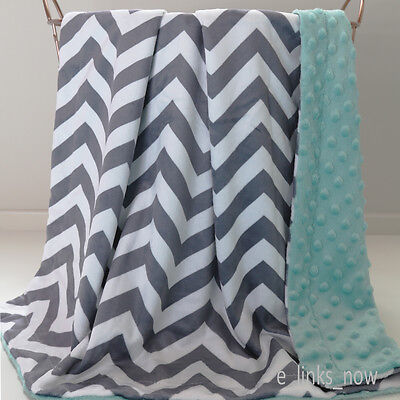 NEW STOCK!  70cm x100cm Baby Minky Blanket Stroller Cot Gift Chevron Grey Mint