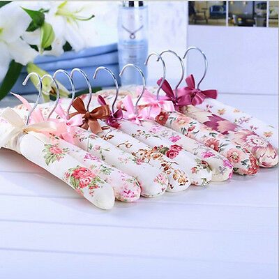 5pcs Satin Padded Coat Clothes Dresses Hook Hangers Non-skid Clothes Hanging