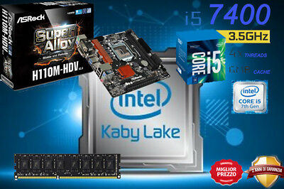 Kit Scheda Madre H110M Processore Intel I5 7400 Kaby Lake 4Gb Ram Ddr4 Dvi/hdmi