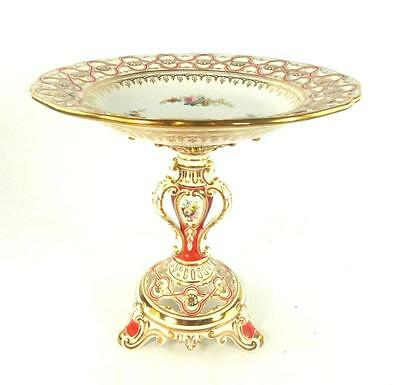 Antique English Porcelain Large Tazza Compote Pierced Reticulated Flowers Minton