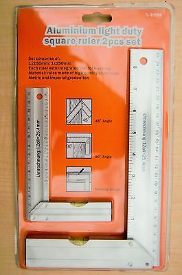 25 cm and 15 cm Aluminium Square Set Right Angle Ruler Guide With Spirit Level
